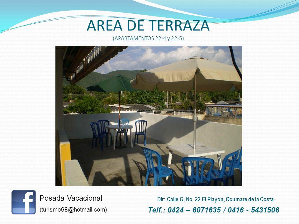 AREA DE TERRAZA (APARTAMENTOS 22-4 y 22-5) Posada Vacacional (turismo68@hotmail.com) Telf.: 0424 – 6071635 / 0416 - 5431506 Dir: Calle G, No. 22 El Pl