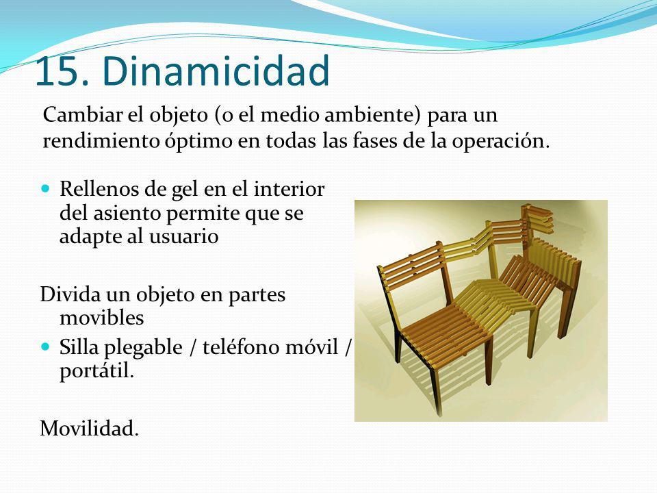15. Dinamicidad Rellenos de gel en el interior del asiento permite que se adapte al usuario Divida un objeto en partes movibles Silla plegable / teléf