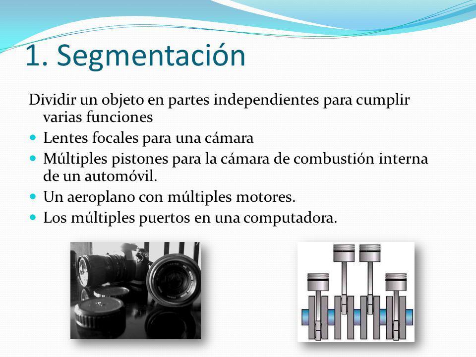 1. Segmentación Dividir un objeto en partes independientes para cumplir varias funciones Lentes focales para una cámara Múltiples pistones para la cám