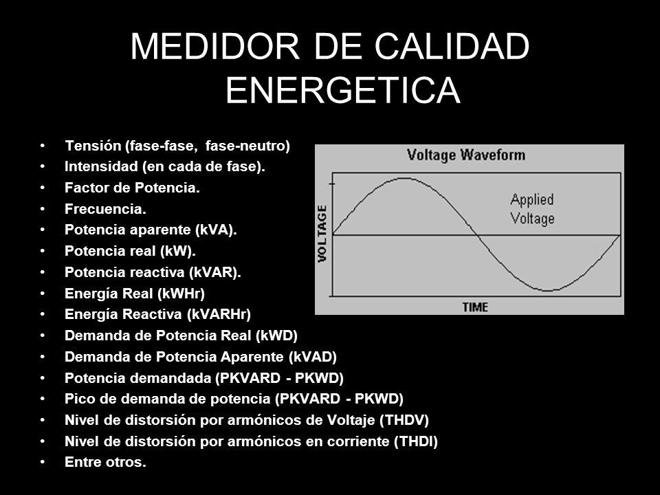 MEDIDOR DE CALIDAD ENERGETICA Tensión (fase-fase, fase-neutro) Intensidad (en cada de fase).