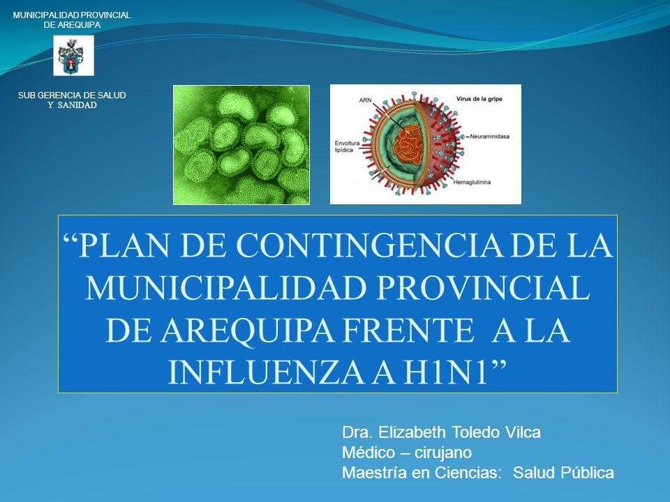 PLAN DE CONTINGENCIA DE LA MUNICIPALIDAD PROVINCIAL DE AREQUIPA FRENTE A LA INFLUENZA A H1N1 MUNICIPALIDAD PROVINCIAL DE AREQUIPA SUB GERENCIA DE SALU