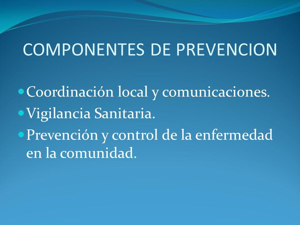 COMPONENTES DE PREVENCION Coordinación local y comunicaciones. Vigilancia Sanitaria. Prevención y control de la enfermedad en la comunidad.