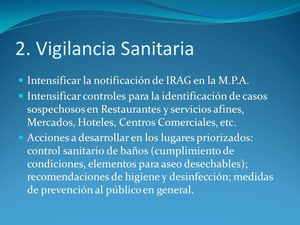 2. Vigilancia Sanitaria Intensificar la notificación de IRAG en la M.P.A. Intensificar controles para la identificación de casos sospechosos en Restau