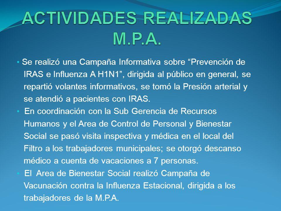 Se realizó una Campaña Informativa sobre Prevención de IRAS e Influenza A H1N1, dirigida al público en general, se repartió volantes informativos, se