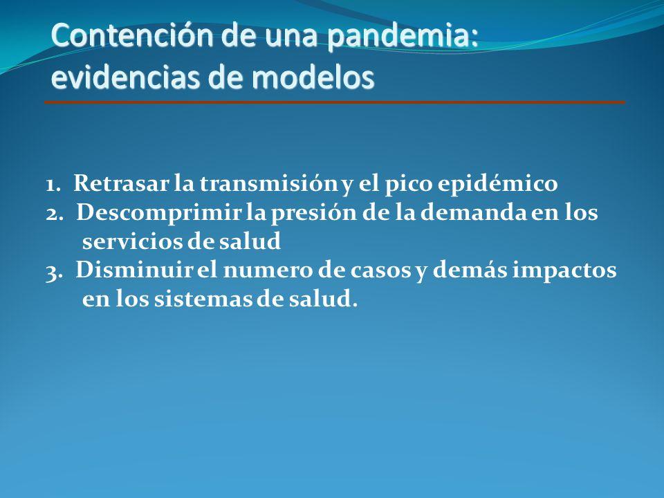 Contención de una pandemia: evidencias de modelos 1. Retrasar la transmisión y el pico epidémico 2. Descomprimir la presión de la demanda en los servi
