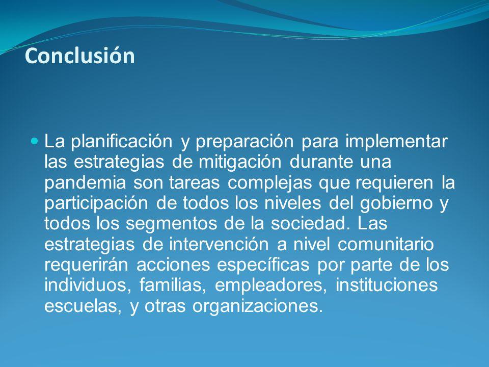 Conclusión La planificación y preparación para implementar las estrategias de mitigación durante una pandemia son tareas complejas que requieren la pa