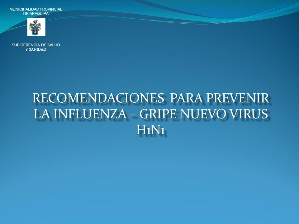 RECOMENDACIONES PARA PREVENIR LA INFLUENZA – GRIPE NUEVO VIRUS H1N1 MUNICIPALIDAD PROVINCIAL DE AREQUIPA SUB GERENCIA DE SALUD Y SANIDAD