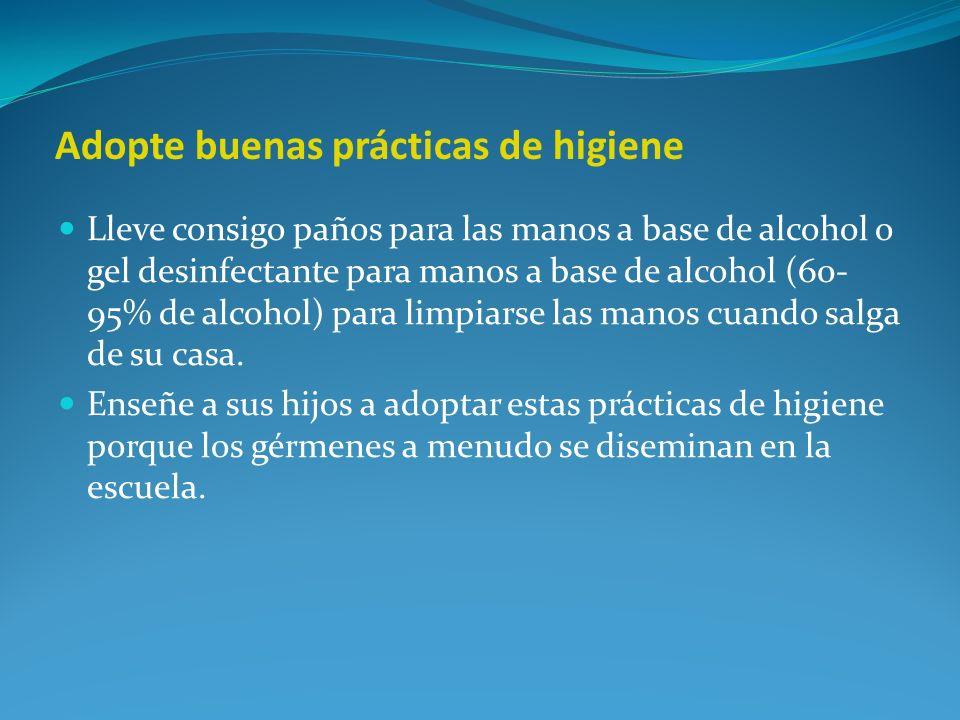 Adopte buenas prácticas de higiene Lleve consigo paños para las manos a base de alcohol o gel desinfectante para manos a base de alcohol (60- 95% de a