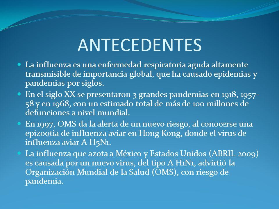 ANTECEDENTES La influenza es una enfermedad respiratoria aguda altamente transmisible de importancia global, que ha causado epidemias y pandemias por