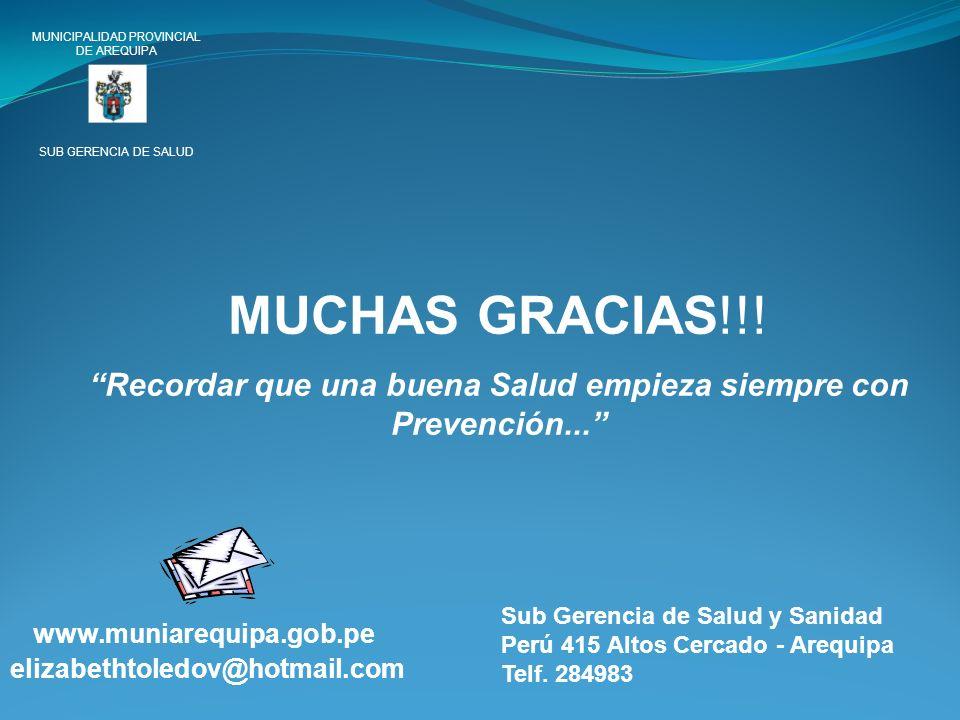 MUNICIPALIDAD PROVINCIAL DE AREQUIPA SUB GERENCIA DE SALUD MUCHAS GRACIAS!!! Recordar que una buena Salud empieza siempre con Prevención... www.muniar