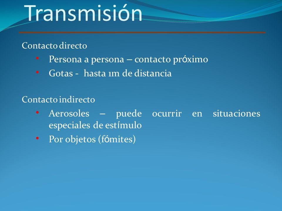 Transmisión Contacto directo Persona a persona – contacto pr ó ximo Gotas - hasta 1m de distancia Contacto indirecto Aerosoles – puede ocurrir en situ