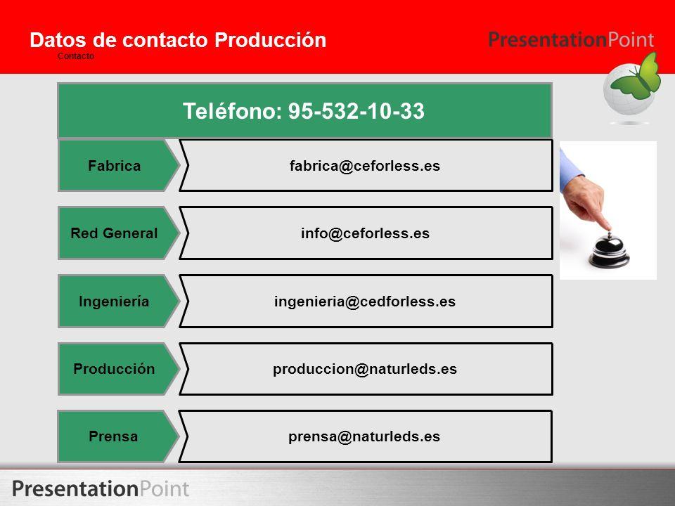 Datos de contacto Producción Contacto Fabricafabrica@ceforless.es Red Generalinfo@ceforless.es Ingenieríaingenieria@cedforless.es Producciónproduccion
