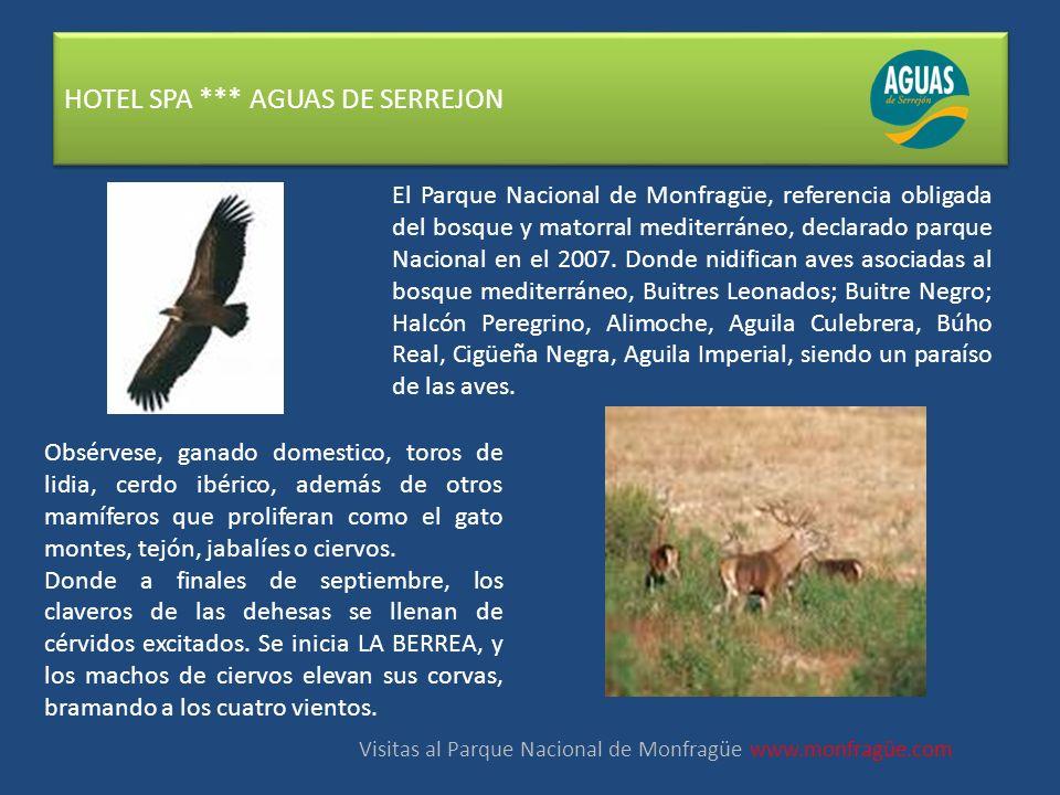 HOTEL SPA *** AGUAS DE SERREJON El Parque Nacional de Monfragüe, referencia obligada del bosque y matorral mediterráneo, declarado parque Nacional en el 2007.