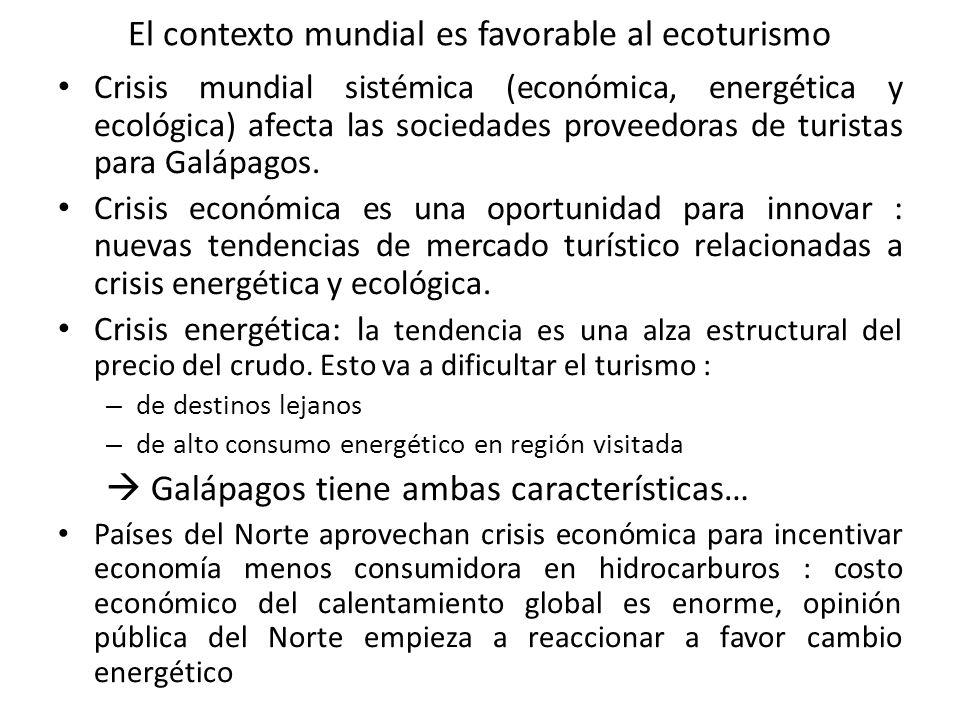 El contexto mundial es favorable al ecoturismo Crisis mundial sistémica (económica, energética y ecológica) afecta las sociedades proveedoras de turistas para Galápagos.