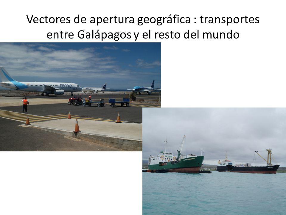 Vectores de apertura geográfica : transportes entre Galápagos y el resto del mundo