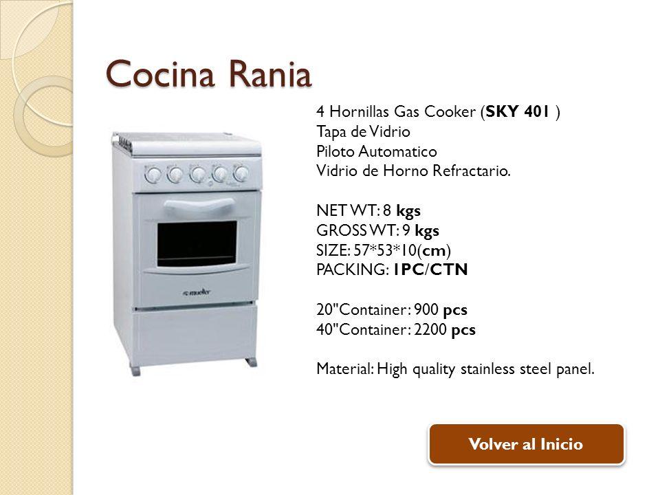 Cocina Rania 4 Hornillas Gas Cooker (SKY 401 ) Tapa de Vidrio Piloto Automatico Vidrio de Horno Refractario.