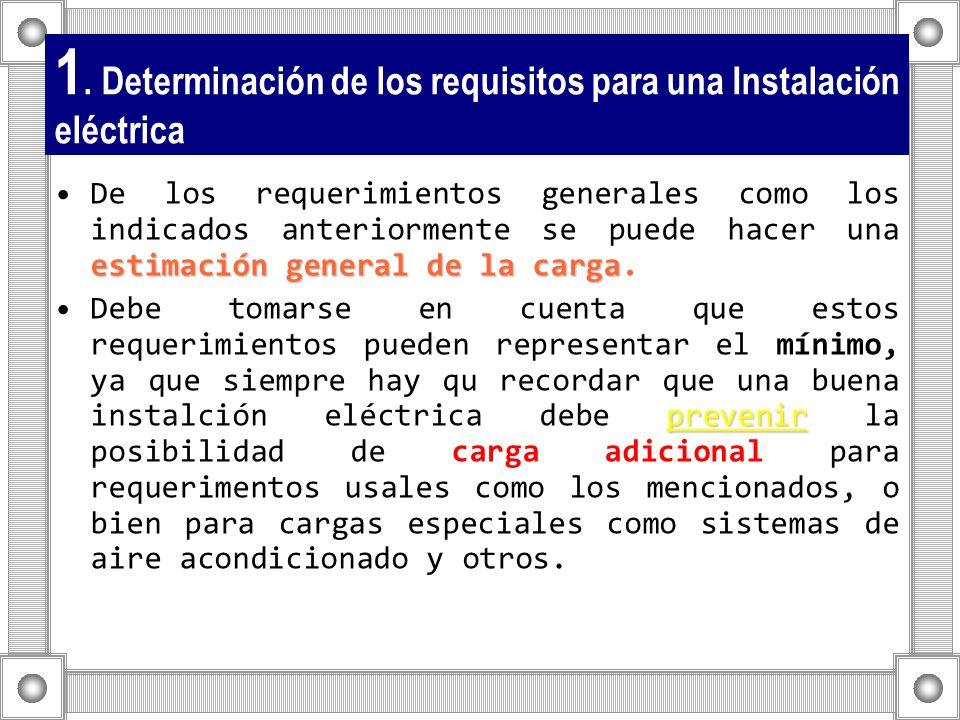 1. Determinación de los requisitos para una Instalación eléctrica estimación general de la cargaDe los requerimientos generales como los indicados ant