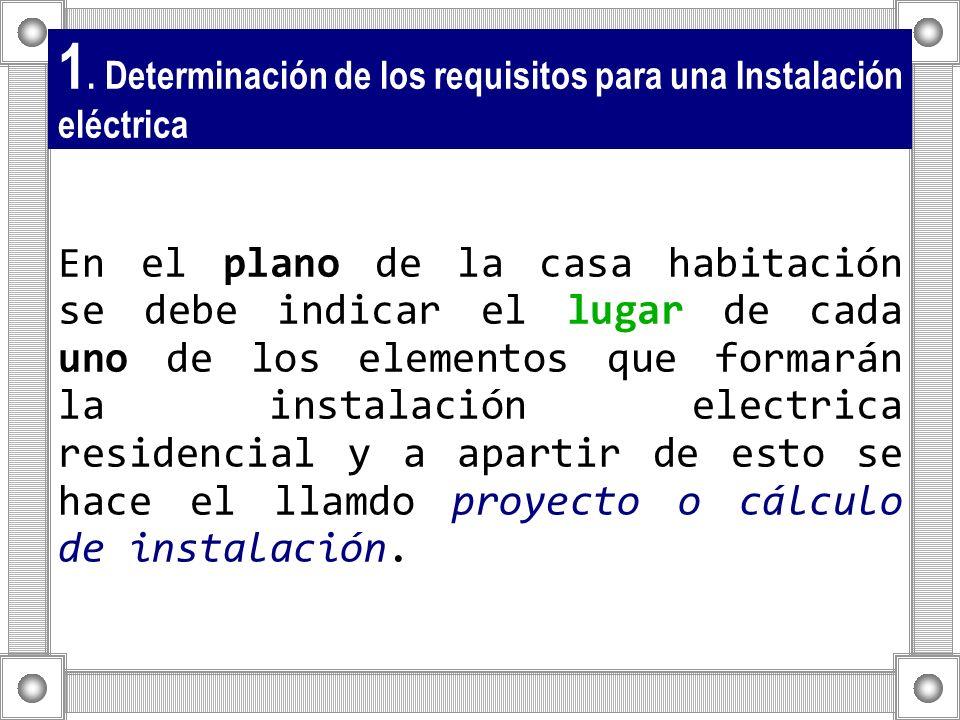 1. Determinación de los requisitos para una Instalación eléctrica En el plano de la casa habitación se debe indicar el lugar de cada uno de los elemen
