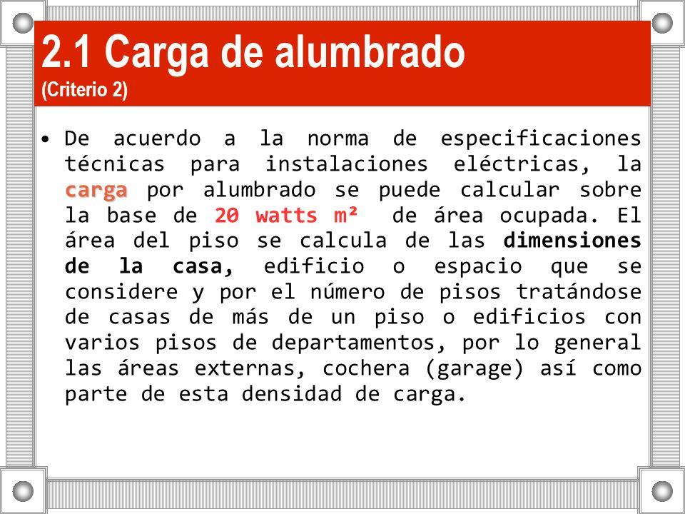 2.1 Carga de alumbrado (Criterio 2) cargaDe acuerdo a la norma de especificaciones técnicas para instalaciones eléctricas, la carga por alumbrado se p