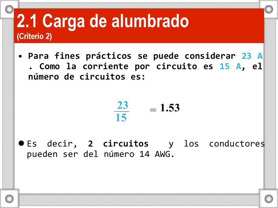 2.1 Carga de alumbrado (Criterio 2) Para fines prácticos se puede considerar 23 A. Como la corriente por circuito es 15 A, el número de circuitos es: