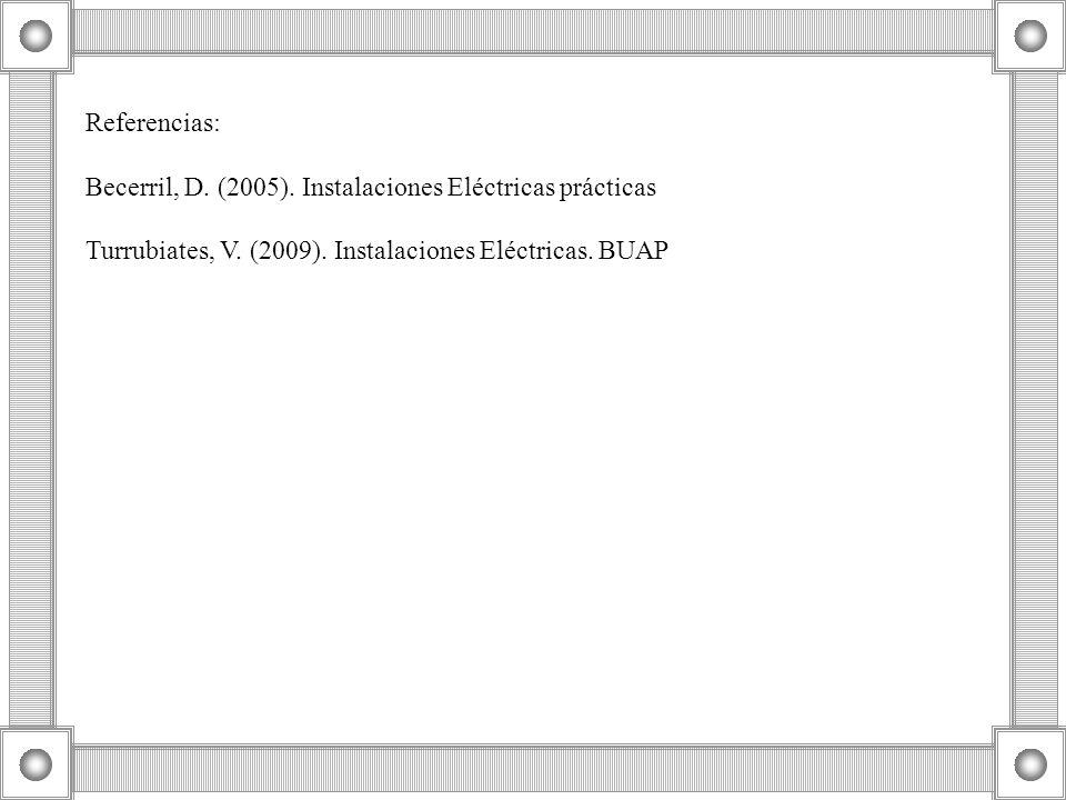 Referencias: Becerril, D. (2005). Instalaciones Eléctricas prácticas Turrubiates, V. (2009). Instalaciones Eléctricas. BUAP