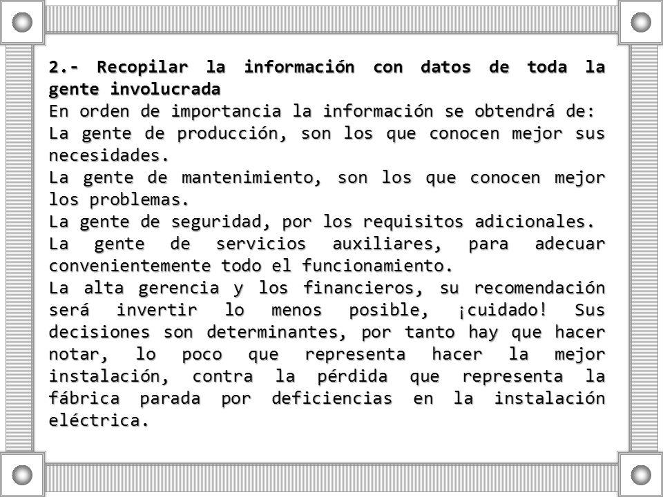 2.- Recopilar la información con datos de toda la gente involucrada En orden de importancia la información se obtendrá de: La gente de producción, son