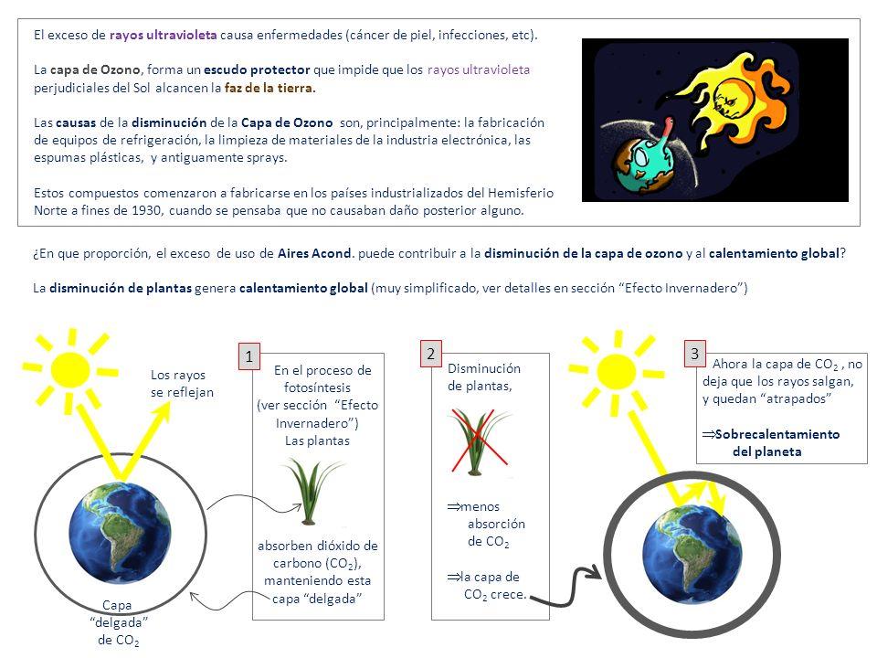 El exceso de rayos ultravioleta causa enfermedades (cáncer de piel, infecciones, etc).