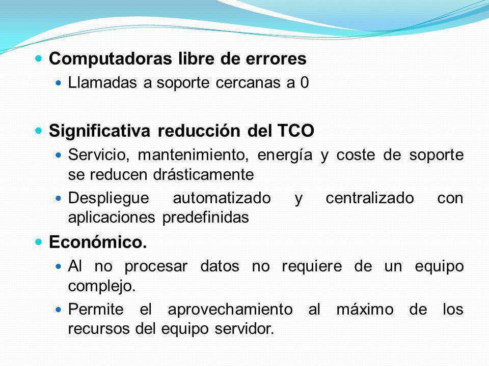 Computadoras libre de errores Llamadas a soporte cercanas a 0 Significativa reducción del TCO Servicio, mantenimiento, energía y coste de soporte se r