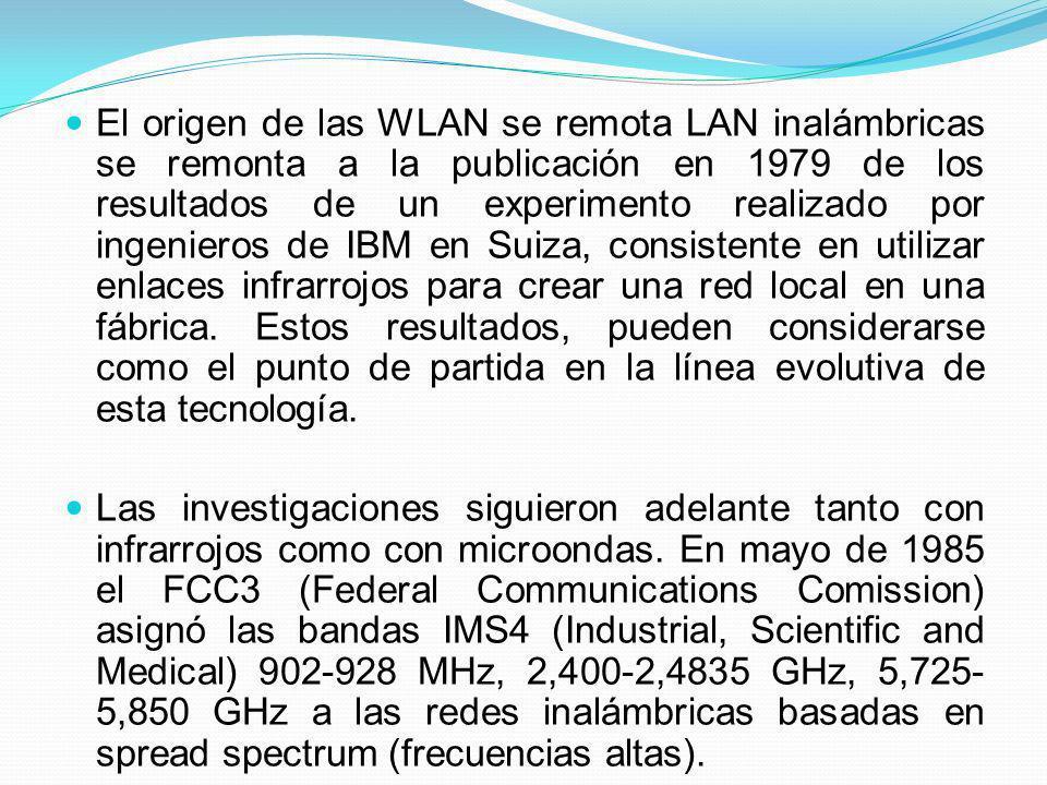El origen de las WLAN se remota LAN inalámbricas se remonta a la publicación en 1979 de los resultados de un experimento realizado por ingenieros de I