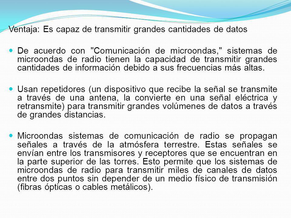 Ventaja: Es capaz de transmitir grandes cantidades de datos De acuerdo con