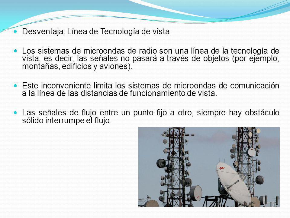 Desventaja: Línea de Tecnología de vista Los sistemas de microondas de radio son una línea de la tecnología de vista, es decir, las señales no pasará