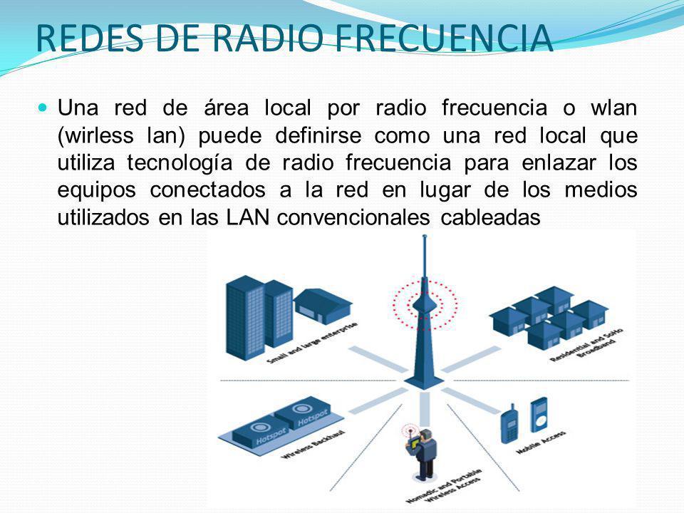 REDES DE RADIO FRECUENCIA Una red de área local por radio frecuencia o wlan (wirless lan) puede definirse como una red local que utiliza tecnología de