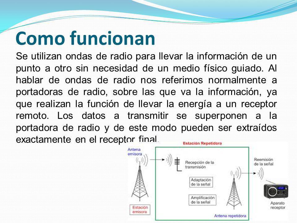 Como funcionan Se utilizan ondas de radio para llevar la información de un punto a otro sin necesidad de un medio físico guiado. Al hablar de ondas de
