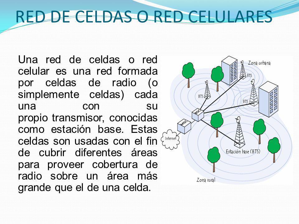 RED DE CELDAS O RED CELULARES Una red de celdas o red celular es una red formada por celdas de radio (o simplemente celdas) cada una con su propio tra