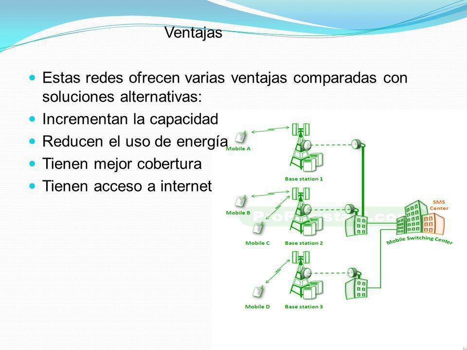 Ventajas Estas redes ofrecen varias ventajas comparadas con soluciones alternativas: Incrementan la capacidad Reducen el uso de energía Tienen mejor c
