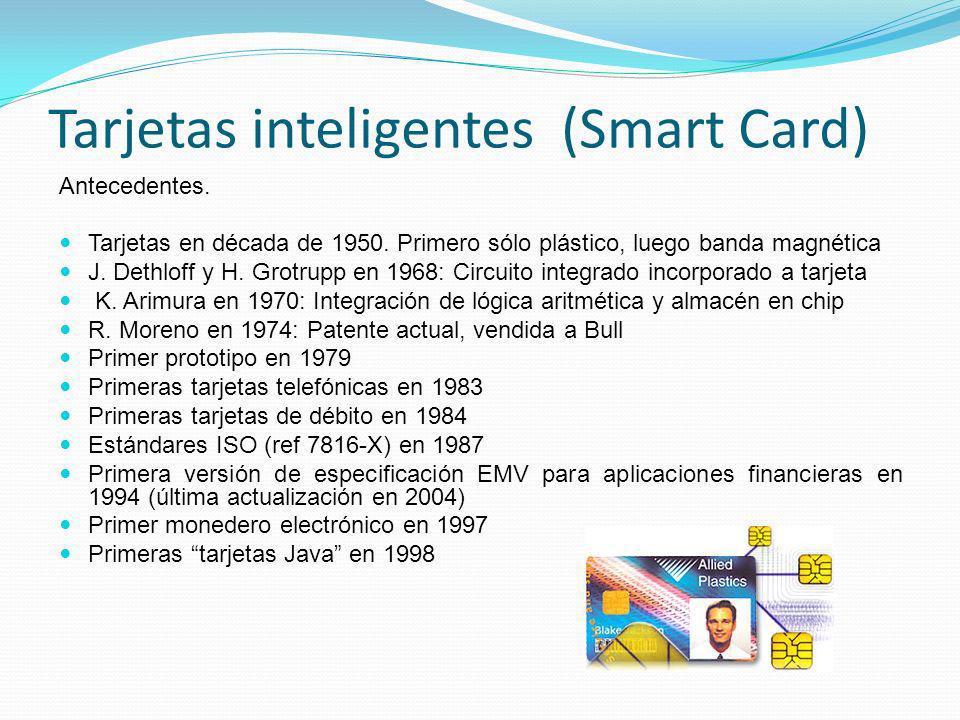 Tarjetas inteligentes (Smart Card) Antecedentes. Tarjetas en década de 1950. Primero sólo plástico, luego banda magnética J. Dethloff y H. Grotrupp en