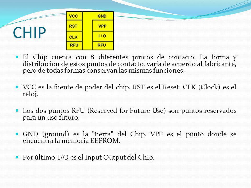 CHIP El Chip cuenta con 8 diferentes puntos de contacto. La forma y distribución de estos puntos de contacto, varía de acuerdo al fabricante, pero de