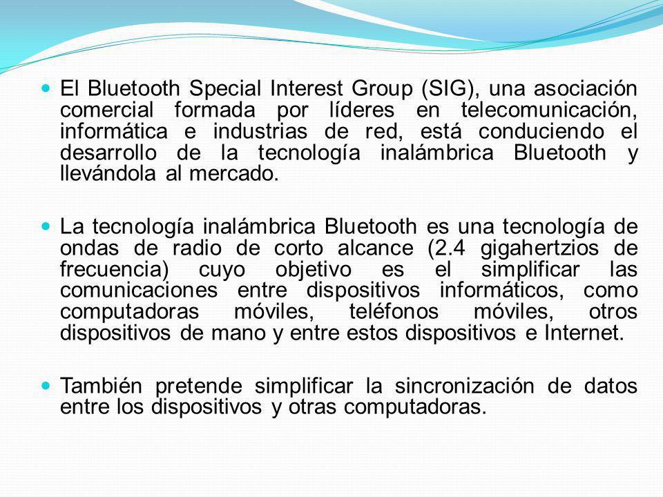 El Bluetooth Special Interest Group (SIG), una asociación comercial formada por líderes en telecomunicación, informática e industrias de red, está con