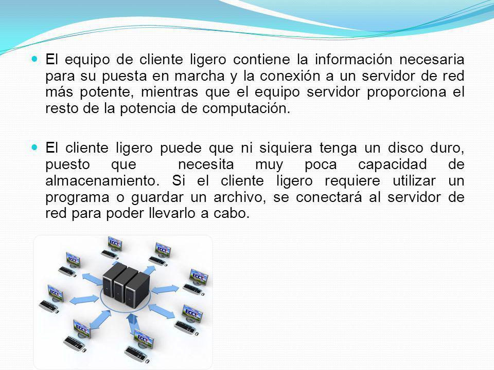 El equipo de cliente ligero contiene la información necesaria para su puesta en marcha y la conexión a un servidor de red más potente, mientras que el