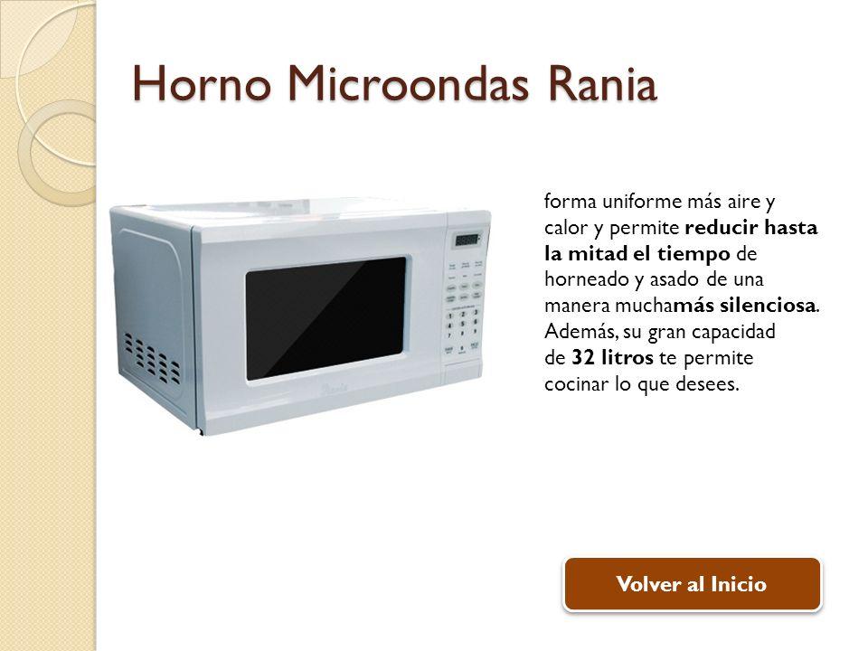 Horno Microondas Rania Volver al Inicio forma uniforme más aire y calor y permite reducir hasta la mitad el tiempo de horneado y asado de una manera muchamás silenciosa.