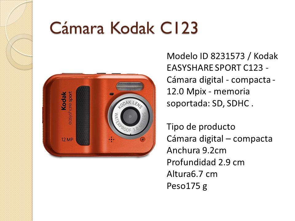 Cámara Kodak M200 Anchura: 8.6 cm Profundidad: 1.9 cm Altura: 5.2 cm Características principales: Resolución: 10.0 Megapíxel Colores admitidos: Color Total de píxeles: 10 400 000 píxeles Resolución efectiva del sensor: 10.000.000 píxeles Sensibilidad a la luz: ISO 100, ISO 800, ISO 400, ISO 200, ISO 1000, ISO automática Zoom digital: 5 x Modos de toma de fotografías: Modo de cuadro de película Volver al Inicio