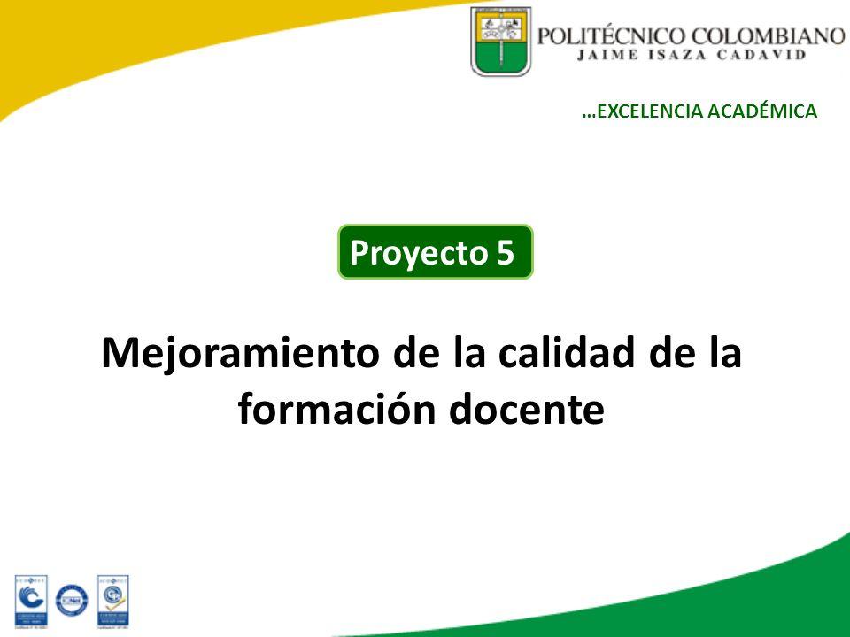 Mejoramiento de la calidad de la formación docente …EXCELENCIA ACADÉMICA Proyecto 5
