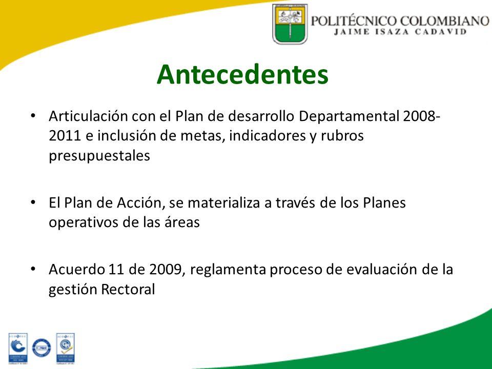 Antecedentes Articulación con el Plan de desarrollo Departamental 2008- 2011 e inclusión de metas, indicadores y rubros presupuestales El Plan de Acci