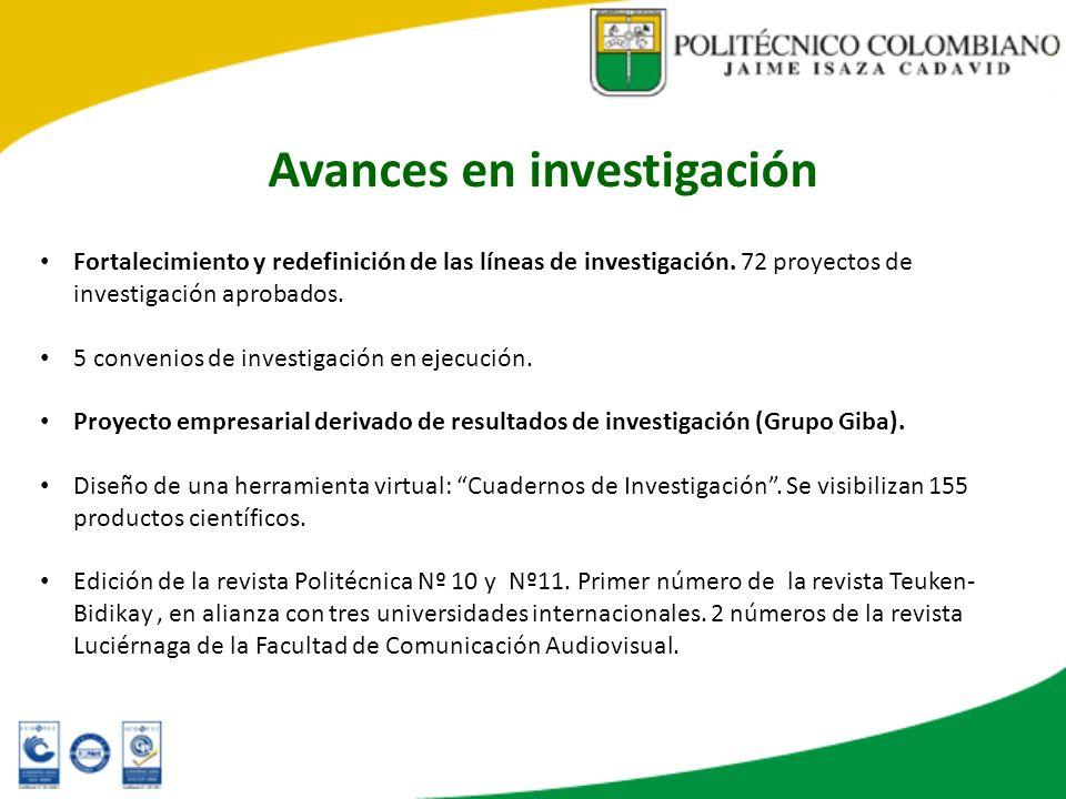 Avances en investigación Fortalecimiento y redefinición de las líneas de investigación. 72 proyectos de investigación aprobados. 5 convenios de invest