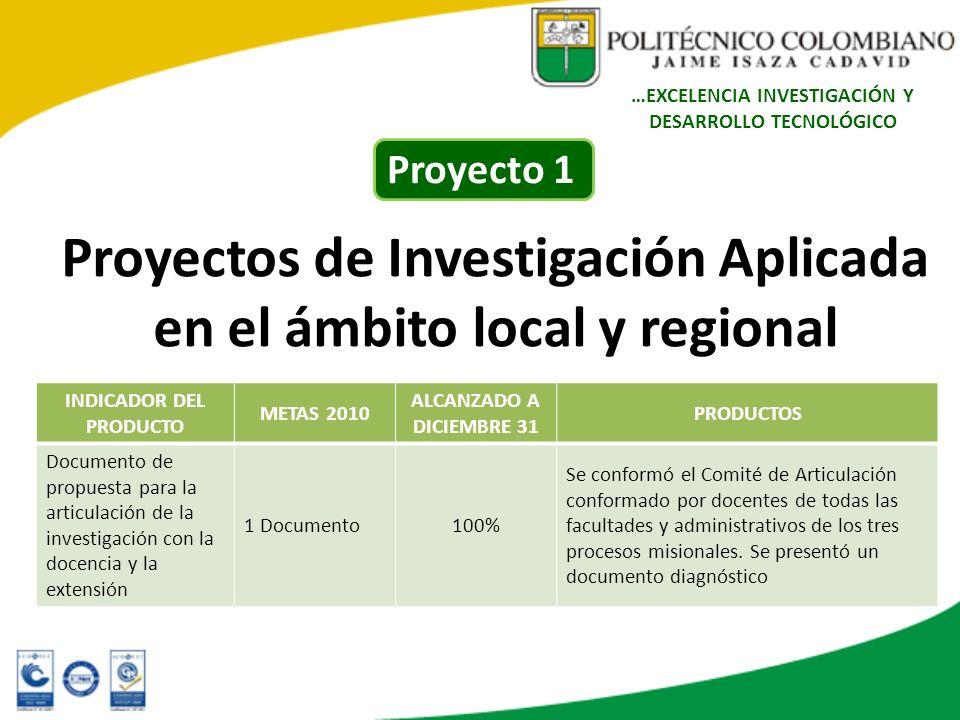 Proyectos de Investigación Aplicada en el ámbito local y regional INDICADOR DEL PRODUCTO METAS 2010 ALCANZADO A DICIEMBRE 31 PRODUCTOS Documento de pr