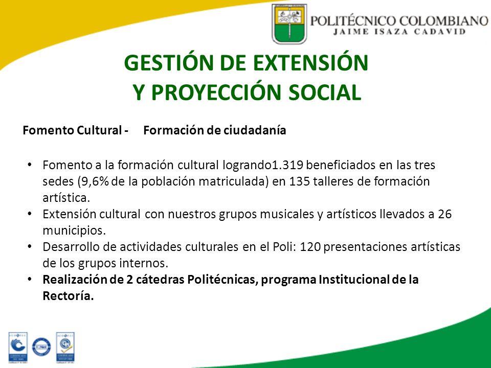 GESTIÓN DE EXTENSIÓN Y PROYECCIÓN SOCIAL Fomento Cultural - Formación de ciudadanía Fomento a la formación cultural logrando1.319 beneficiados en las