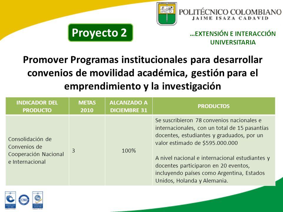Promover Programas institucionales para desarrollar convenios de movilidad académica, gestión para el emprendimiento y la investigación …EXTENSIÓN E I