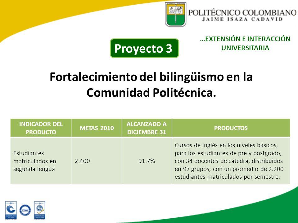 Fortalecimiento del bilingüismo en la Comunidad Politécnica. INDICADOR DEL PRODUCTO METAS 2010 ALCANZADO A DICIEMBRE 31 PRODUCTOS Estudiantes matricul