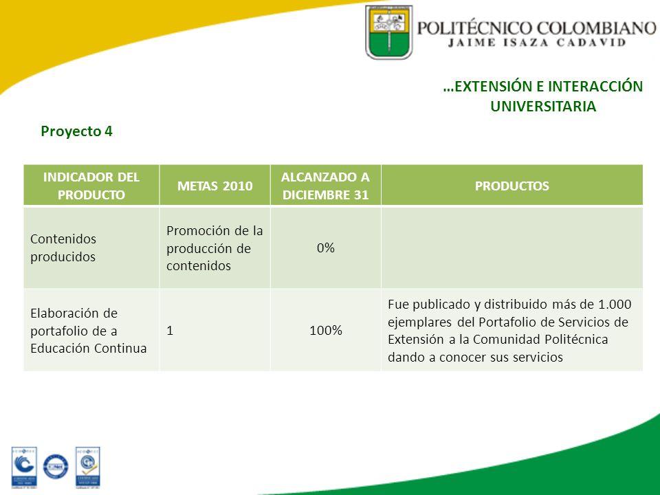 INDICADOR DEL PRODUCTO METAS 2010 ALCANZADO A DICIEMBRE 31 PRODUCTOS Contenidos producidos Promoción de la producción de contenidos 0% Elaboración de