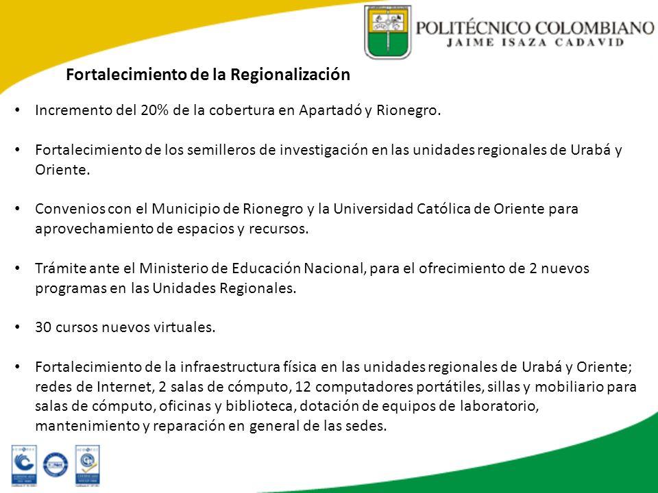 Fortalecimiento de la Regionalización Incremento del 20% de la cobertura en Apartadó y Rionegro. Fortalecimiento de los semilleros de investigación en